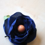 dark blue wood bead hair pin light