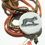 fox green orange wood with beads white