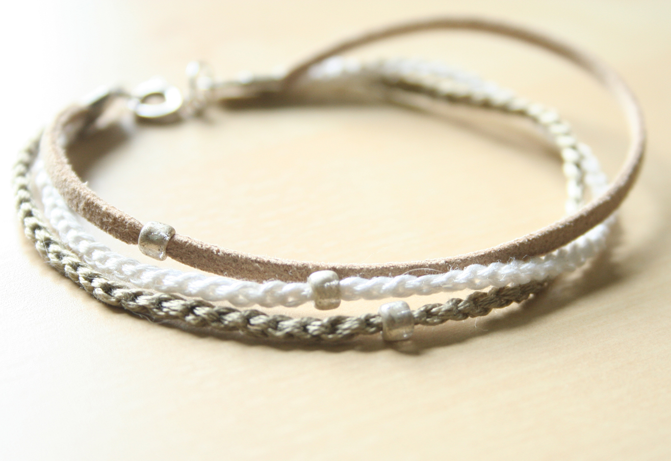 tan with silver beads light